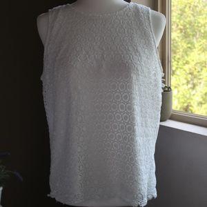 White Sleeveless Eyelet & Knit Mix Shell Top